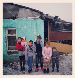 Some of the kids at their home, a shanty town where many of Arad's Roma live.